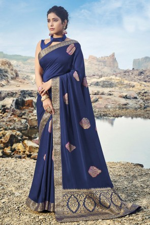 Blue Silk Fabric Border Work Designer Saree And Blouse