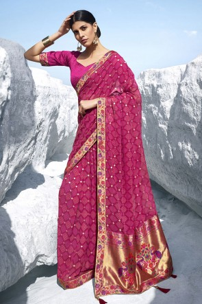Pink Georgette Fabric Jacquard Work And Printed Designer Saree And Blouse