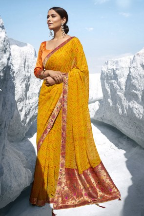 Georgette Fabric Yellow Jacquard Work And Printed Designer Saree And Blouse