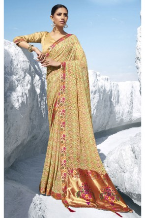 Jacquard Work And Printed Cream Georgette Fabric Saree And Blouse