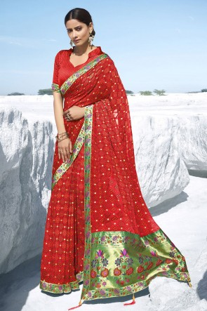 Red Georgette Fabric Jacquard Work And Printed Designer Saree And Blouse