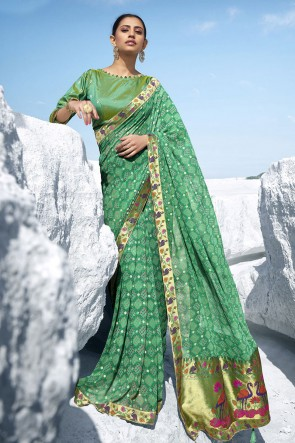 Stunning Green Georgette Fabric Designer Jacquard Work And Printed Saree And Blouse
