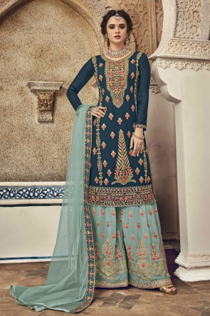 Georgette Designer Teal Embroidered Plazzo Suit And Dupatta