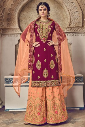 Designer Maroon Embroidered Georgette Plazzo Suit And Dupatta