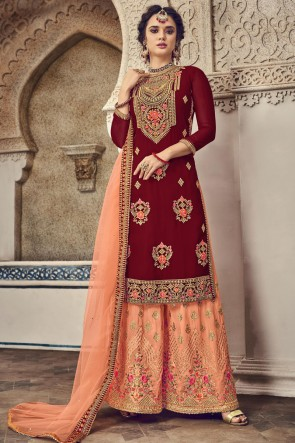 Red Georgette Embroidered Plazzo Suit And Dupatta