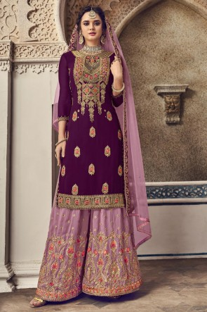 Embroidered Purple Georgette Fabric Plazzo Suit And Dupatta