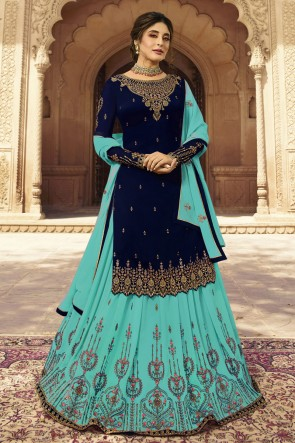 kritika kamra Navy Blue And Sky Blue Faux Georgette Embroidered Lehenga Suit With Dupatta