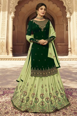 kritika kamra Embroidered Green And Pista Faux Georgette Fabric Lehenga Suit With Dupatta
