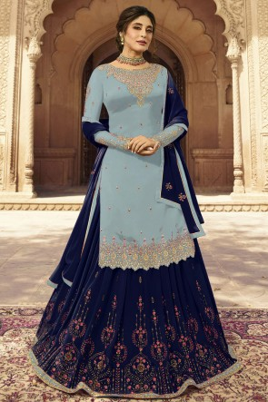 kritika kamra Faux Georgette Designer Silver And Navy Blue Embroidered Lehenga Suit With Dupatta