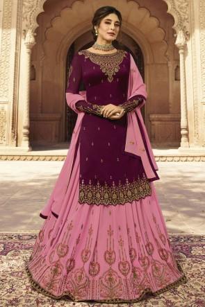 kritika kamra Designer Maroon And Pink Embroidered Faux Georgette Lehenga Suit With Dupatta