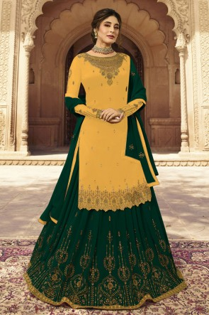 kritika kamra Yellow And Green Faux Georgette Embroidered Lehenga Suit With Dupatta
