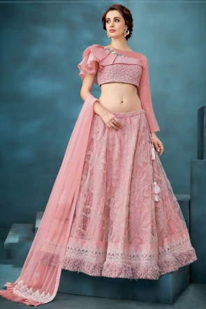 Pink Net Fabric Embroidered And Thread Work Lehenga Choli With Net Dupatta