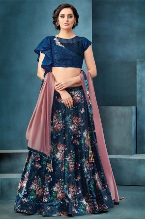Navy Blue Embroidered And Thread Work Velvet Fabric Lehenga Choli With Net Dupatta
