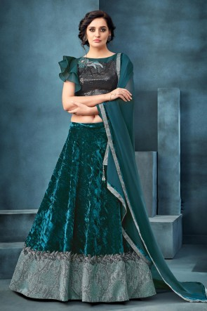 Beautiful Teal Embroidered And Thread Work Velvet Fabric Lehenga Choli With Net Dupatta