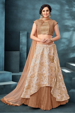 Delightful Coffee Embroidered And Thread Work Jacquard Fabric Lehenga Choli With Net Dupatta