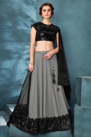 Silver Embroidered And Thread Work Lycra Fabric Lehenga Choli With Net Dupatta