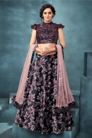 Purpel Jacquard Velvet Fabric Thread Work And Embroidered Work Designer Lehenga Choli With Net Dupatta