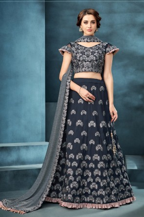 Charcoal Thread Work And Embroidered Silk Fabric Lehenga Choli With Lycra Dupatta