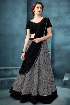 Grey Jacquard Fabric Embroidered And Thread Work Lehenga Choli With Lycra Dupatta