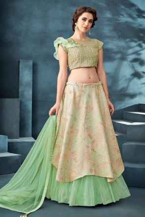 Delightful Pista Embroidered And Thread Work Jacquard Fabric Lehenga Choli With Net Dupatta