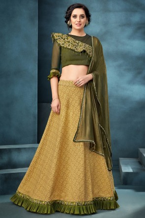 Mustard Embroidered And Thread Work Jacquard Fabric Lehenga Choli With Net Dupatta