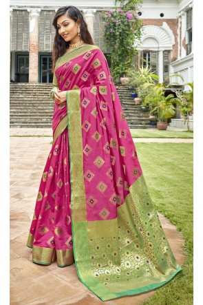Art Silk Fabric Weaving Work And Jacquard Work Designer Pink Lovely Saree And Blouse