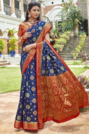 Blue Art Silk Weaving Work And Jacquard Work Designer Saree And Blouse