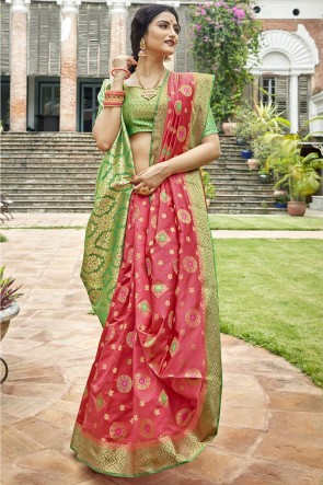 Peach Art Silk Fabric Weaving Work And Jacquard Work Designer Saree And Blouse