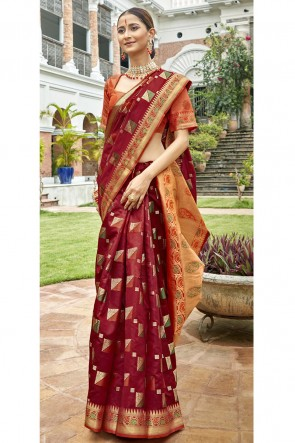 Art Silk Fabric Maroon Weaving Work And Jacquard Work Designer Saree And Blouse