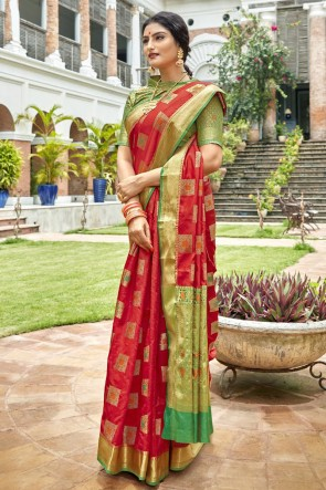 Weaving Work And Jacquard Work Red Art Silk Fabric Saree And Blouse