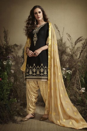 Cotton Designer Black Golden Embroidered And Zari Work Patiala Suit With Nazmin Dupatta