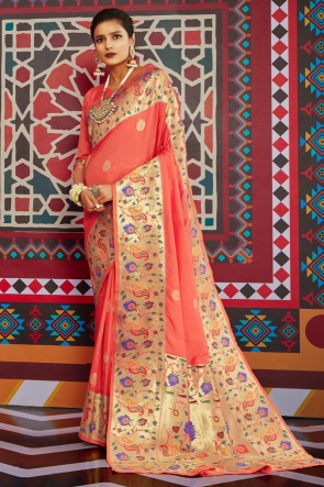 Weaving Work And Jacquard Work Peach Silk Saree And Blouse