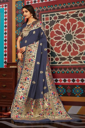 Grey Silk Weaving Work And Jacquard Work Saree And Blouse