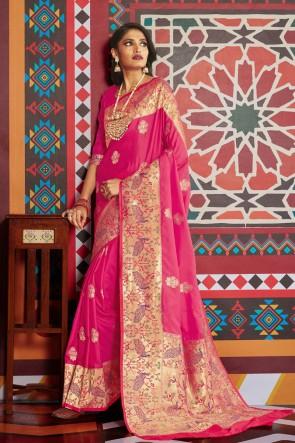 Stunning Pink Silk Designer Weaving Work And Jacquard Work Saree And Blouse