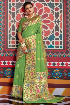 Silk Weaving Work And Jacquard Work Designer Green Lovely Saree And Blouse