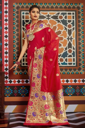 Silk Red Weaving Work And Jacquard Work Designer Saree And Blouse