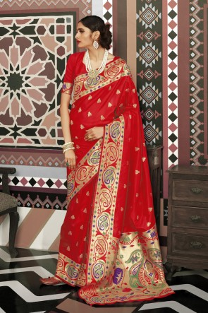 Lovely Weaving Work And Jacquard Work Red Silk Fabric Saree And Blouse