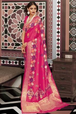 Optimum Weaving Work And Jacquard Work Pink Silk Fabric Designer Saree And Blouse