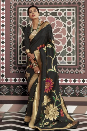 Silk Fabric Black Weaving Work And Jacquard Work Designer Saree And Blouse
