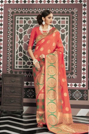 Stunning Peach Silk Fabric Designer Weaving Work And Jacquard Work Saree And Blouse