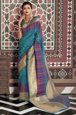 Silk Fabric Weaving Work And Jacquard Work Designer Blue Saree And Blouse