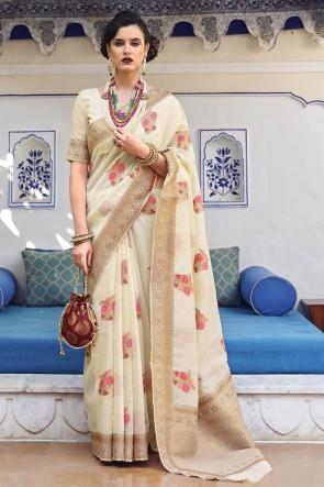 Karyon Linen Fabric Off White Weaving Work Designer Saree With Silk Blouse