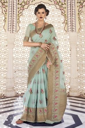 Sky Blue Karyon Linen Fabric Weaving Work Designer Saree And Blouse