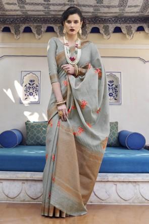 Weaving Work Grey Karyon Linen Fabric Saree And Blouse