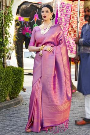 Silk Fabric Pink Jacquard Work And Weaving Work Designer Saree And Blouse