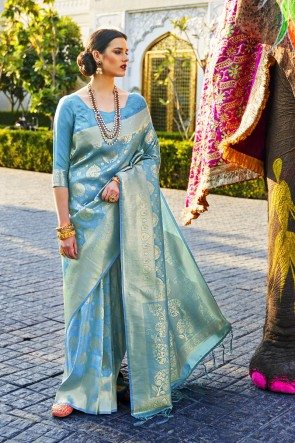 Stunning Sky Blue Silk Fabric Designer Jacquard Work And Weaving Work Saree And Blouse