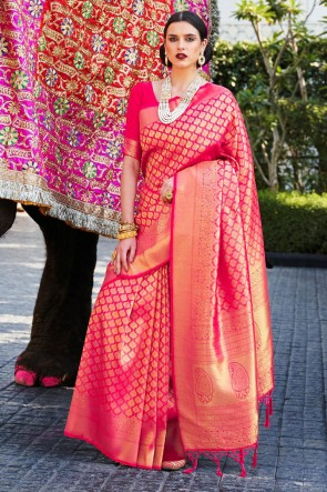 Silk Fabric Jacquard Work And Weaving Work Designer Pink Lovely Saree And Blouse