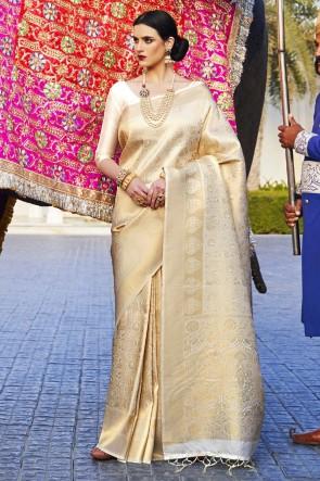 Jacquard Work And Weaving Work Cream Silk Fabric Saree And Blouse