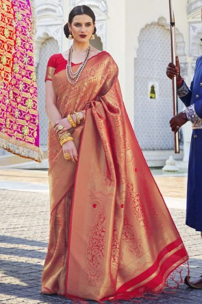 Red Silk Fabric Jacquard Work And Weaving Work Designer Saree And Blouse