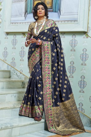 Weaving Work And Jacquard Work Black Silk Fabric Saree With Silk Blouse